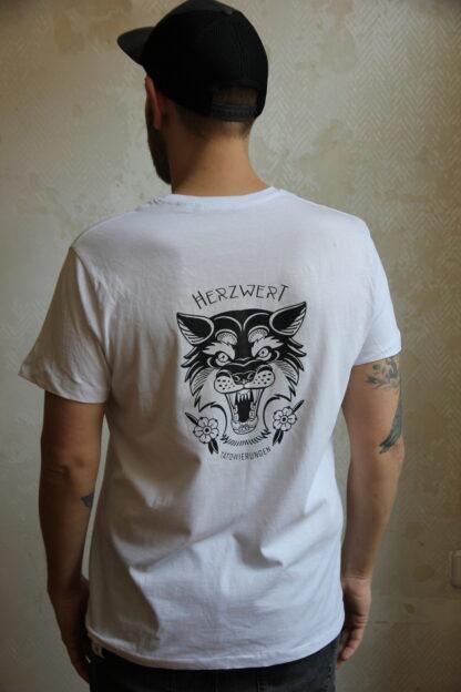 White Shirt - Black Print - Man - back