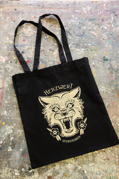 Gold printed bag wolf front